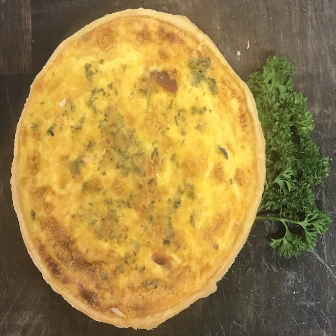Family size smoked trout quiche 29.10